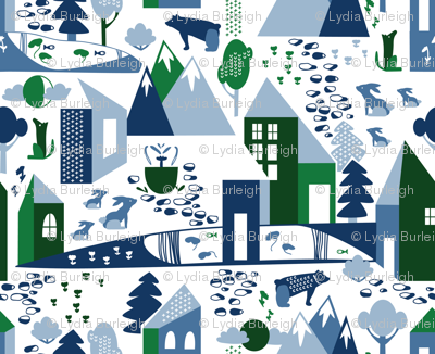 Nordic Village in blue and green