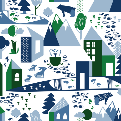 Nordic Village in blue and green fabric by lburleighdesigns on Spoonflower - custom fabric