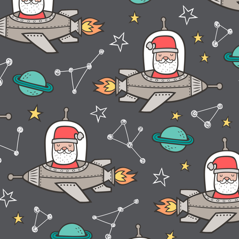 Christmas Santa Claus in Space Rockets, Planets & Constellations on Dark Grey fabric by caja_design on Spoonflower - custom fabric