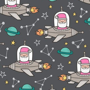 Pink Christmas Santa Claus in Space Rockets, Planets & Constellations on Dark Grey