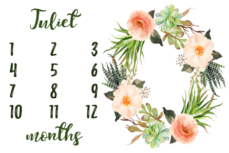 Succulent Floral Wreath Baby Milestone Blanket fabric by hipkiddesigns on Spoonflower - custom fabric