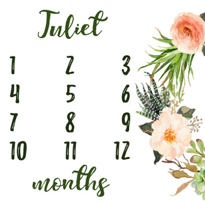 Succulent Floral Wreath Baby Milestone Blanket