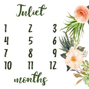 Succulent Floral Wreath Baby Milestone Blanket