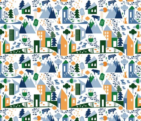 Nordic Village in greens fabric by lburleighdesigns on Spoonflower - custom fabric