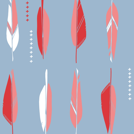 Nordic Feathers in pinks fabric by lburleighdesigns on Spoonflower - custom fabric