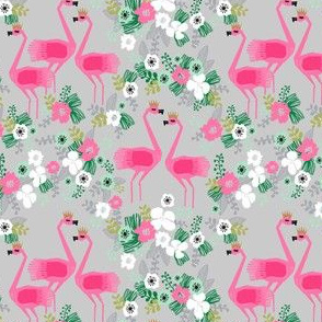 tropical flamingo fabric // floral hibiscus tropical floral flamingo fabric grey flamingo crowns