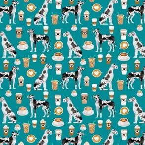 Great dane dog fabric and coffees - small size