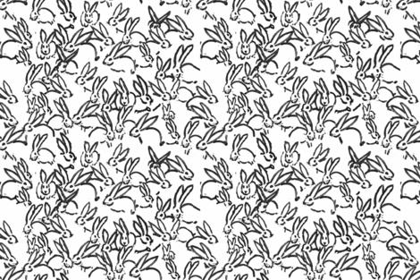 Black painted bunnies black rabbits black bunny  fabric by jenlats on Spoonflower - custom fabric