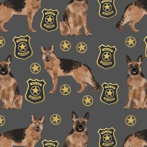 german shepherd police badge fabric dog k9 unit fabric - charcoal
