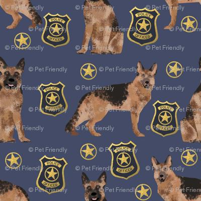german shepherd police badge fabric dog k9 unit fabric - blue