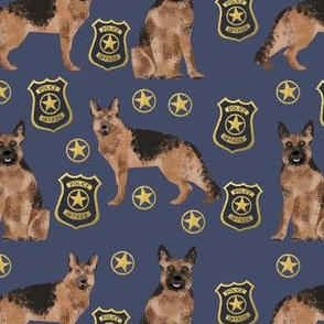 german shepherd police badge fabric dog k9 unit fabric - blue