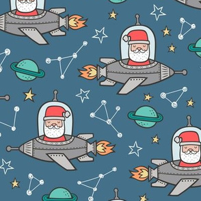 Christmas Santa Claus in Space Rockets, Planets & Constellations on Blue Denim