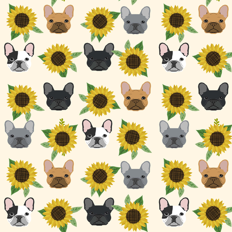 french bulldog fabric cute frenchies and sunflowers design sunflower fabric - cream fabric by petfriendly on Spoonflower - custom fabric