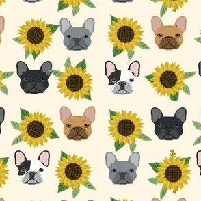 french bulldog fabric cute frenchies and sunflowers design sunflower fabric - cream