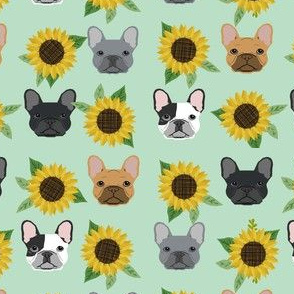french bulldog fabric cute frenchies and sunflowers design sunflower fabric - mint