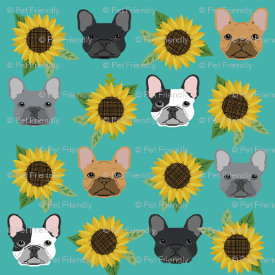 french bulldog fabric cute frenchies and sunflowers design sunflower fabric - turquoise
