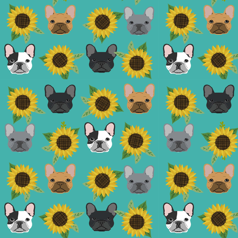 french bulldog fabric cute frenchies and sunflowers design sunflower fabric - turquoise fabric by petfriendly on Spoonflower - custom fabric