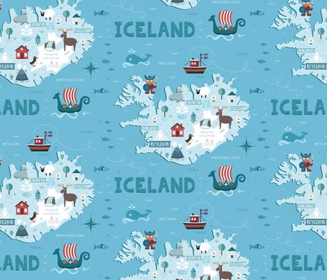 iceland_map fabric by la_fabriken on Spoonflower - custom fabric