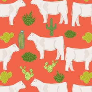 charolais cattle cow and cactus fabric charolais cactus cattle fabric - orange