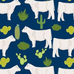 charolais cattle cow and cactus fabric charolais cactus cattle fabric - navy