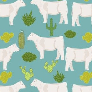 charolais cattle cow and cactus fabric charolais cactus cattle fabric - blue
