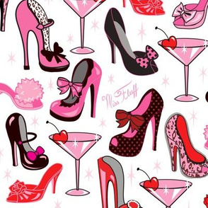 Retro Shoes and Pink Martinis- Large