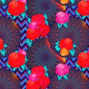 Bohemian mandalas in floral glow