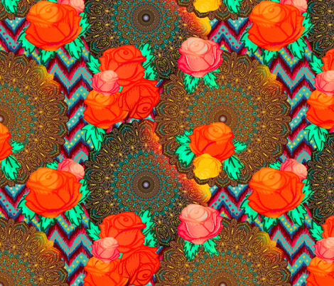 Chevron mandala floral in boho glow fabric by beesocks on Spoonflower - custom fabric