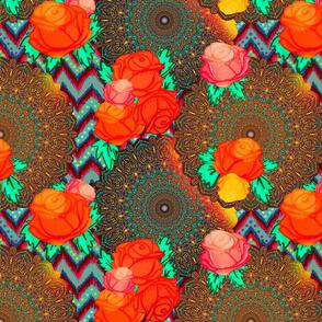 Chevron mandala floral in boho glow