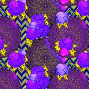 Psychedelic chevron mandala floral