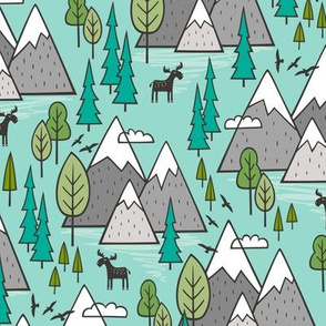 Mountains Forest Woodland Trees & Moose on Mint Green