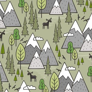 Mountains Forest Woodland Trees & Moose on Green