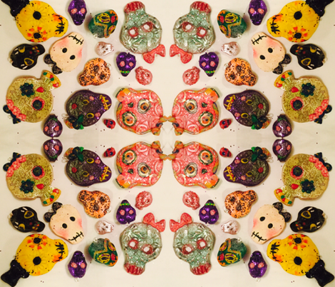 Sugar skulls on white fabric by fifi_nell on Spoonflower - custom fabric