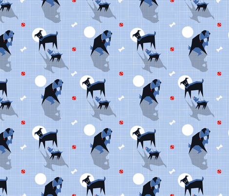 Dogs in the Moonlight fabric by beverlyjane on Spoonflower - custom fabric