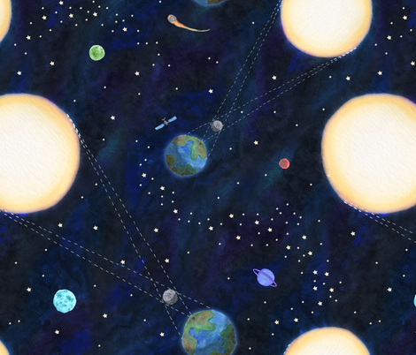 Total Solar Eclipse Watercolor fabric by kritterstitches on Spoonflower - custom fabric