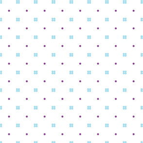 Baby blue and purple dots