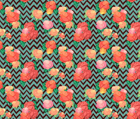 Chevron floral fabric by beesocks on Spoonflower - custom fabric