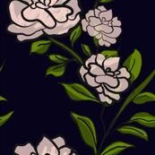 Camellia Bush on Dark Blue