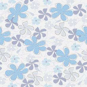 Spotty Floral Sky Blue