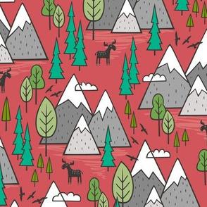 Mountains Forest Woodland Trees & Moose on Red