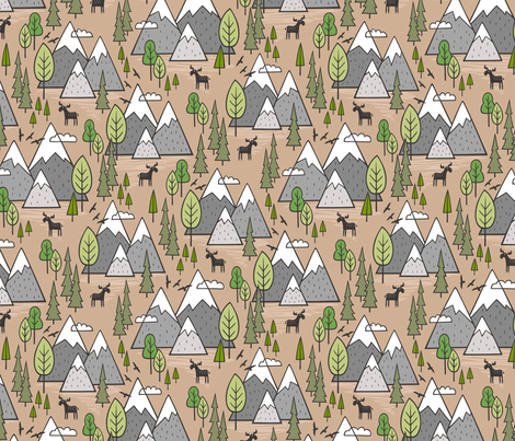Mountains Forest Woodland Trees & Moose on Hazelnut fabric by caja_design on Spoonflower - custom fabric