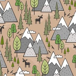 Mountains Forest Woodland Trees & Moose on Hazelnut