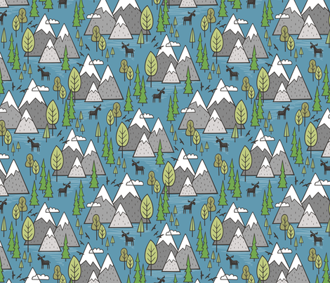 Mountains Forest Woodland Trees & Moose on Dark Blue  fabric by caja_design on Spoonflower - custom fabric