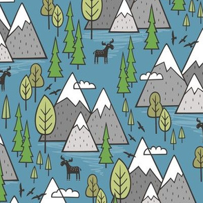 Mountains Forest Woodland Trees & Moose on Dark Blue