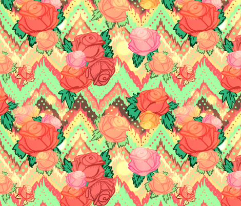Chevron floral in sunny coral fabric by beesocks on Spoonflower - custom fabric