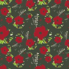 Red Flowers on Olive Green