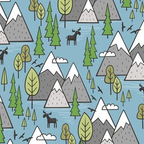 Mountains Forest Woodland Trees & Moose on Blue