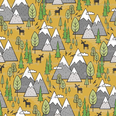 Mountains Forest Woodland Trees & Moose on Mustard Yellow