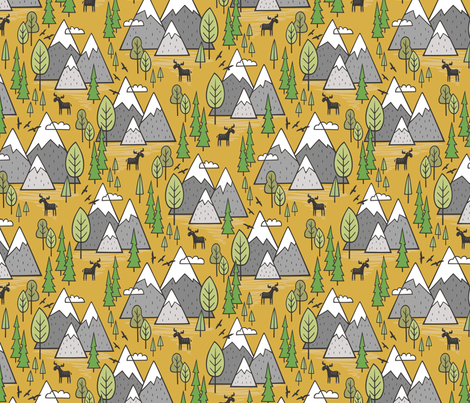 Mountains Forest Woodland Trees & Moose on Mustard Yellow fabric by caja_design on Spoonflower - custom fabric