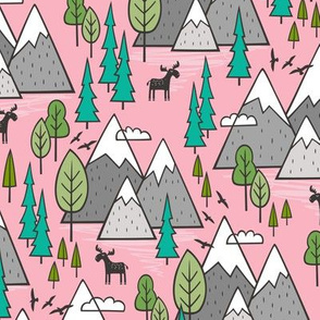 Mountains Forest Woodland Trees & Moose on Pink